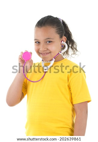 Young Girl Doctor with A Toy Stethoscope Isolated on White Background - stock photo