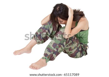 Young girl doing excise, sit-ups, isolated over white background. - stock photo