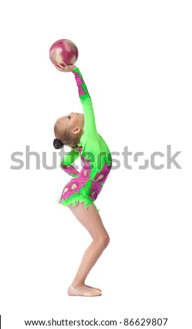 Young girl doing exercise with ball isolated - stock photo