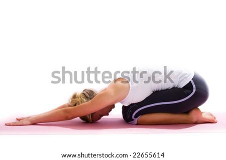young girl doing pilates - stock photo