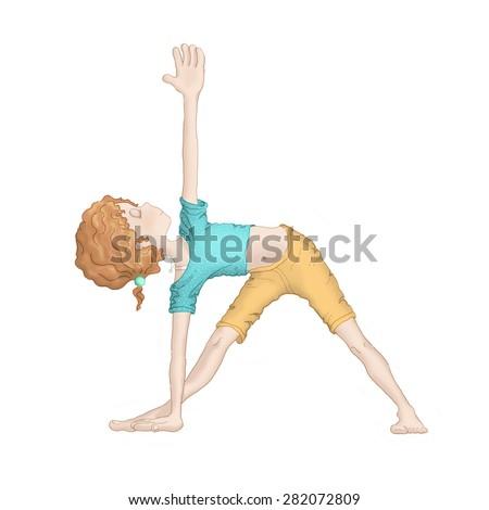 Young girl doing yoga - Trikonasana (triangle pose) - stock photo