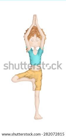 Young girl doing yoga - Vriksasana (tree pose) - stock photo