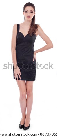 Young girl dressed in black on a white background - stock photo
