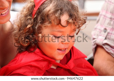 Young girl dressed up on Halloween - stock photo