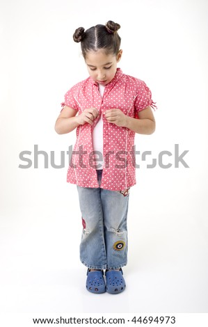 young girl dressing up isolated on white - stock photo