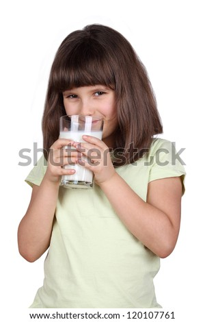 Young girl drinking milk - stock photo