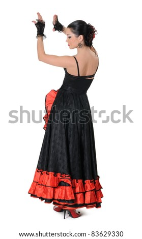 Young girl elegance in the style of flamenco isolated on white background - stock photo