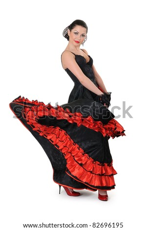 Young girl elegance in the style of flamenco on white background - stock photo