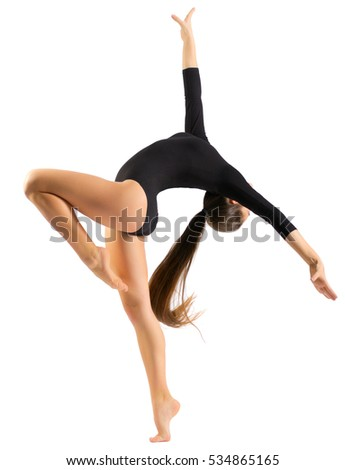 Young girl engaged arts gymnastic isolated