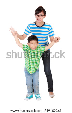 young girl enjoy a young boy Isolated on white background.