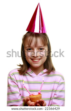 Young girl enjoying a party against white background