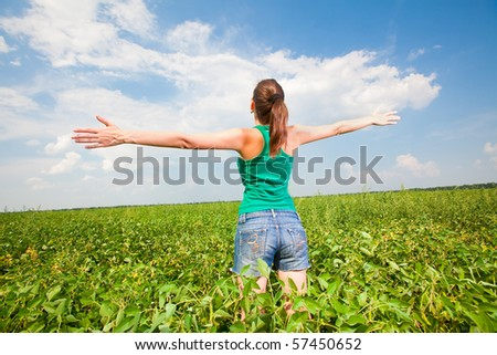 Young girl enjoying summer - stock photo