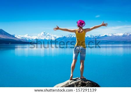 Young Girl enjoying the view  - stock photo