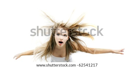 young girl falling down, isolated over white