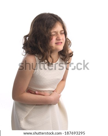 young girl feels sicks , stomach pain  - stock photo