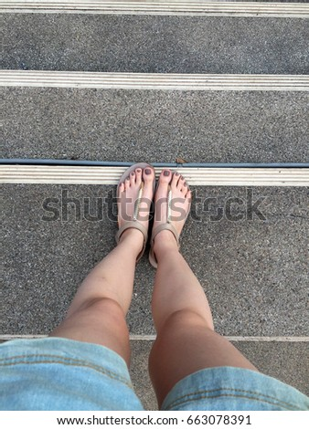 young girl feet brown nails gold stock photo edit now 663078391