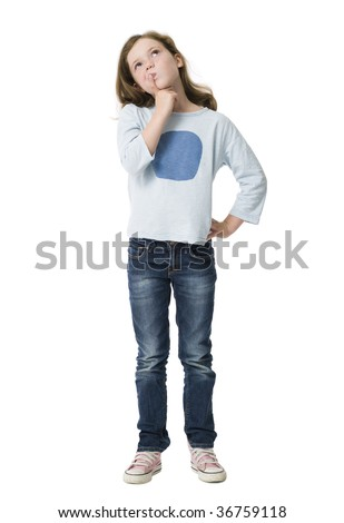 Young girl, finger raised to lips, looking upwards pondering - stock photo