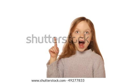 Young girl getting an idea - stock photo