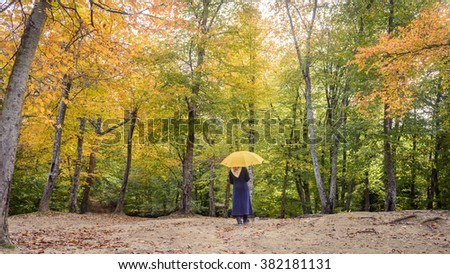 Young girl going alone under umbrella in the park in autumn - stock photo