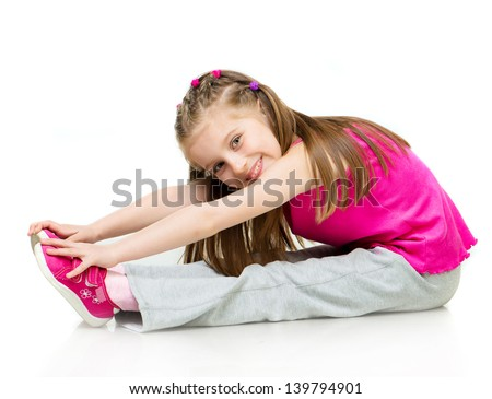 young girl gymnast over white background - stock photo