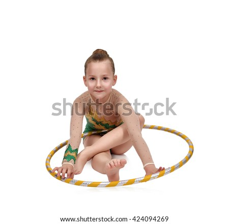 young girl-gymnast with hula hoop isolated on white - stock photo