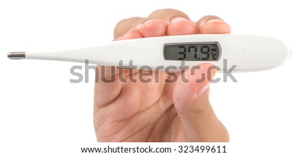 Young girl hand holding a medical thermometer over white backgground