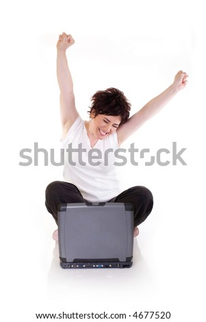 young girl happy for success - stock photo