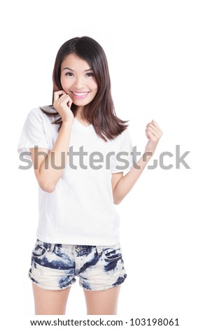 Young Girl Happy smile with white T-Shirt isolated over white, model is a asian woman - stock photo
