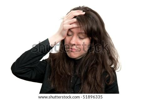 Young girl having a headache - stock photo