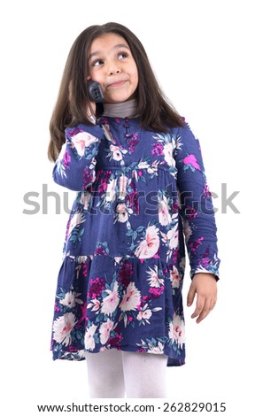 Young Girl Having A Phone Call Isolated on White Background - stock photo