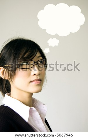 young girl having a thought balloon - stock photo
