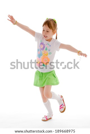 young girl having fun.Isolated on white background. - stock photo