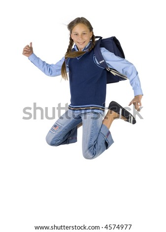 Young girl having fun. Jumping in the air with backpack. Looking at camera. Thumb up. Isolated on white in studio