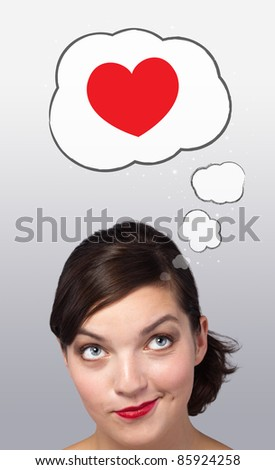 Young girl head looking with gesture at love signs - stock photo