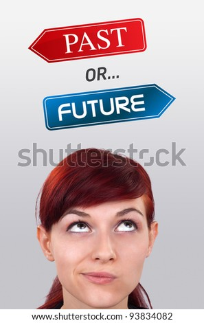 Young girl head looking with gesture at positive negative signs - stock photo