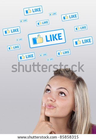 Young girl head looking with gesture at social type of icons and signs - stock photo