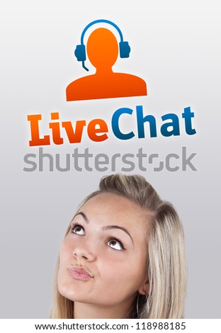 Young girl head looking with gesture at support contact type of icons and signs - stock photo