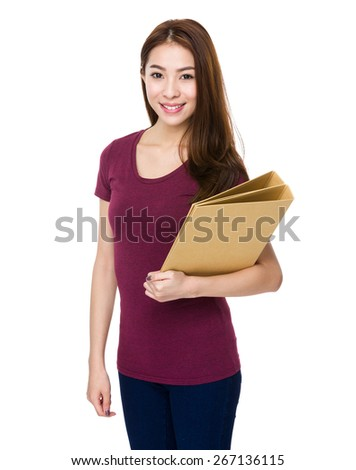 Young girl hold with folder