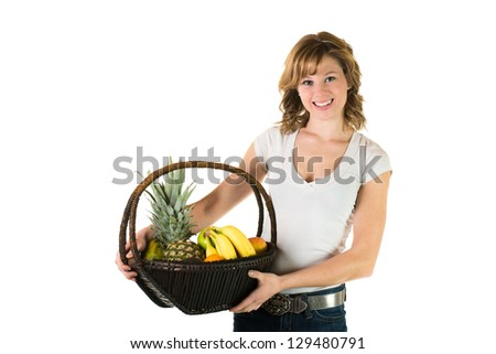 Young girl holding a basket full of fruits