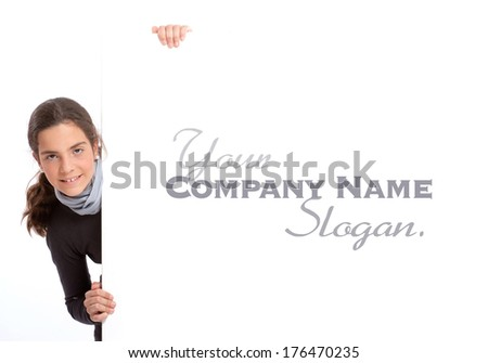 Young girl holding a big vertical white board, perfect for your customized message  - stock photo