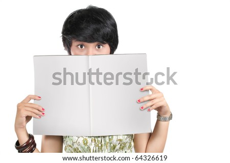 young girl holding a blank magazine