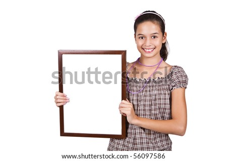 Young girl holding a blank white card for text. - stock photo