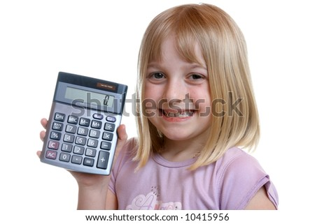 Young girl holding a calculator