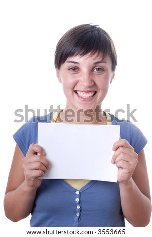 Young girl holding a card, close up - stock photo