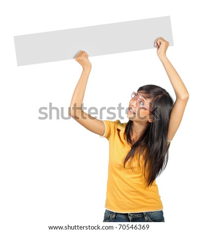 young girl holding a long white card - stock photo