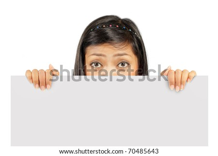 young girl holding big white card - stock photo