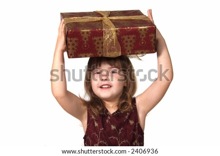 Young Girl Holding Christmas Present on White - stock photo