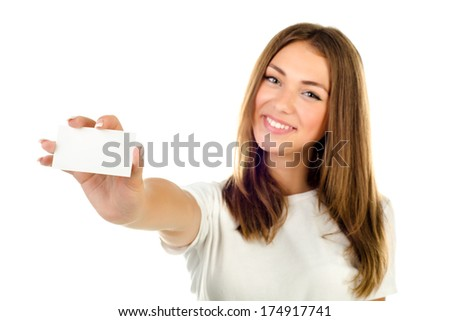 young girl holding empty card isolated on a white background - stock photo