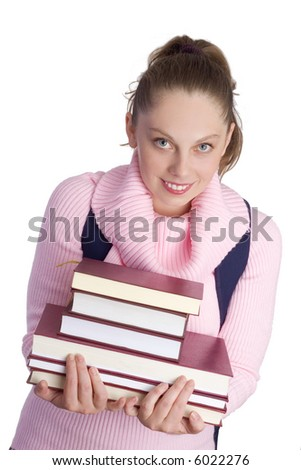 young girl holding lot of books
