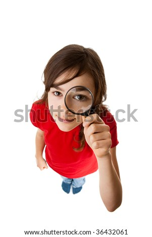 Young girl holding magnifying glass isolated on white background - stock photo